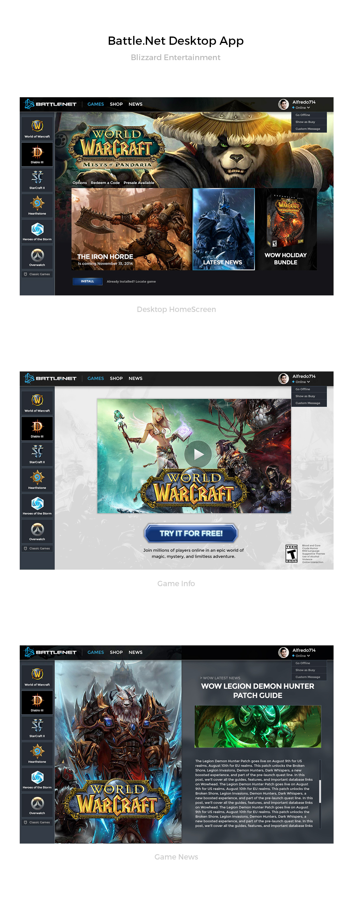 BattleNet Desktop App by AlfredoCreates