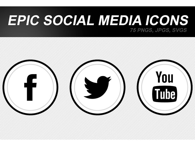 Black White Social Media Clean Round Flat Icons 2 Ui Design Motion Design 2d Art By Alfredocreates