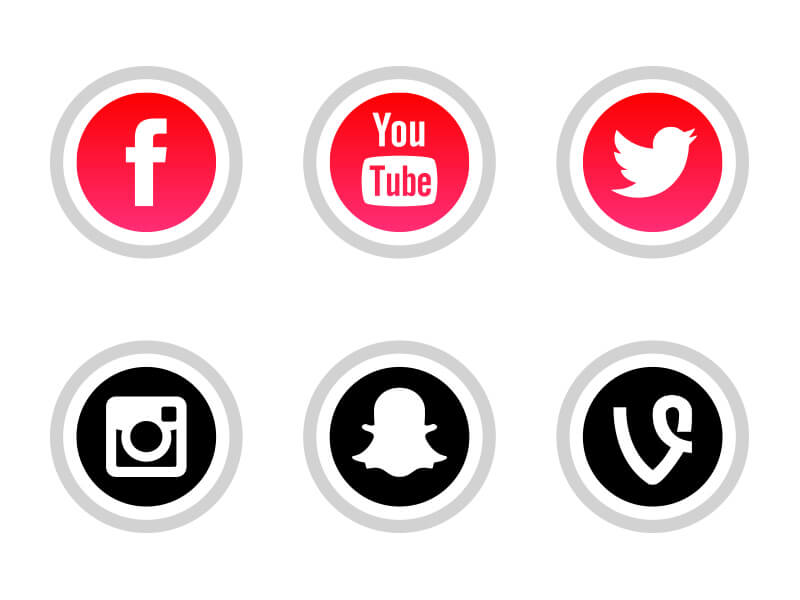3996e21fc13 Free RED Social Media Icons Download PNG SVG JPG - AlfredoCreates ...