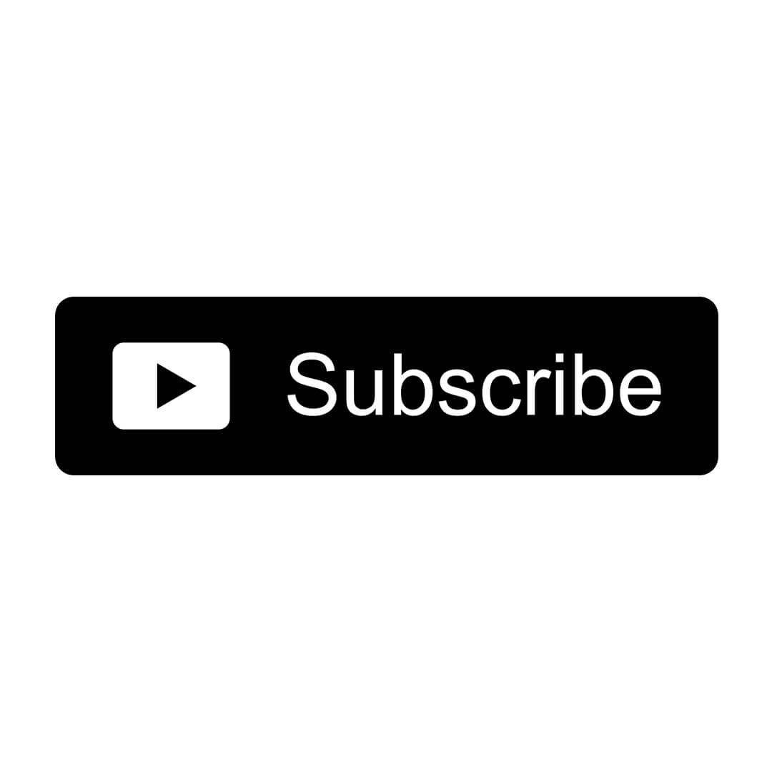 black and white youtube subscribe button white background